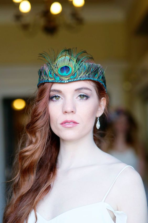 Peacock feather crystal tiara hand made by Holly Young #peacock #feathers #turquoise #bridal #wedding #headdress #accessories #headbands #swarovski @Grifphotography @crystallily