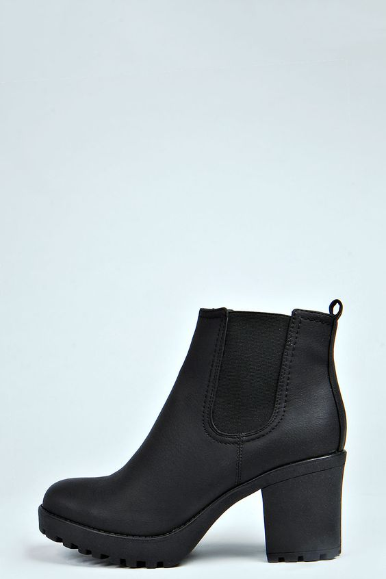 """Tia Chunky Cleated Heel Chelsea Boot, 3"""" heel, no size 6 in stock on may 25th"""