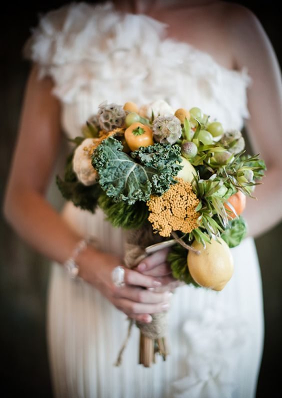 vegetable wedding bouquet; a pretty/cheaper alternative to flowers: