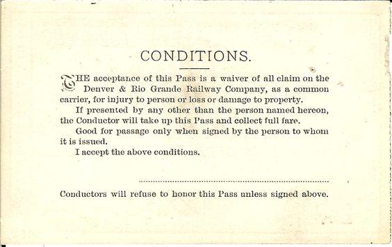 Denver & Rio Grande Railroad Company railroad passes. MT. GOTHIC TOMES AND RELIQUARY