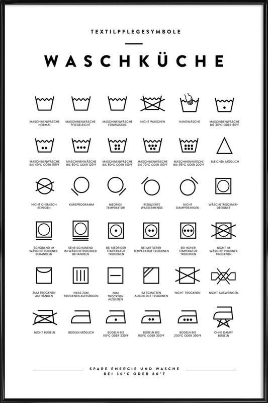 Wasche Poster Im Kunststoffrahmen Juniqe In 2020 Waschsymbole Wasche Poster