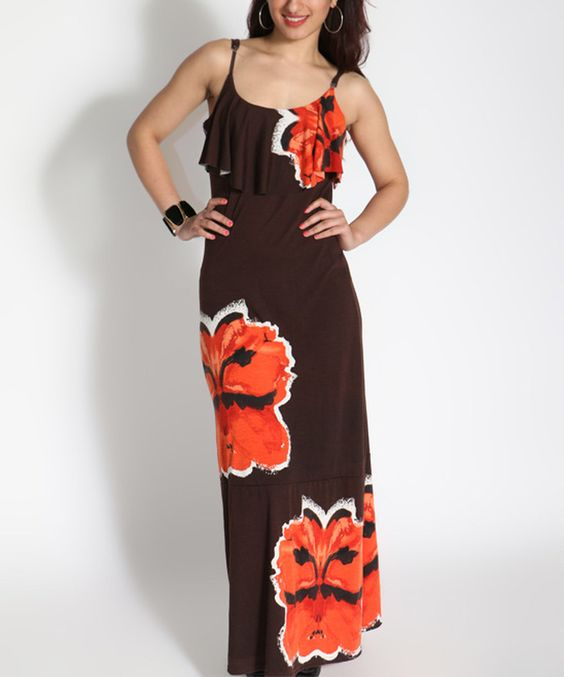 Look what I found on #zulily! Shoreline Coffee & Red Floral Maxi Dress by Shoreline #zulilyfinds