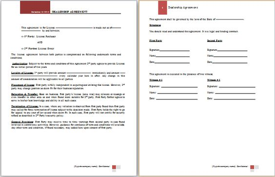 franchise agreement template at worddoxorg Microsoft Templates - credit agreement