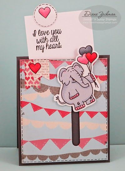 Sweet 'n Sassy Stamps: floating elephant- Pull Tab Slider Card