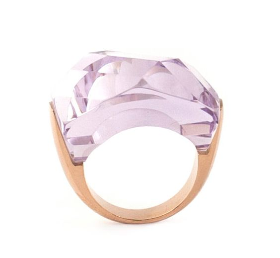 Ring in solid 9k rose gold with fancy cut natural by RiakJewellery