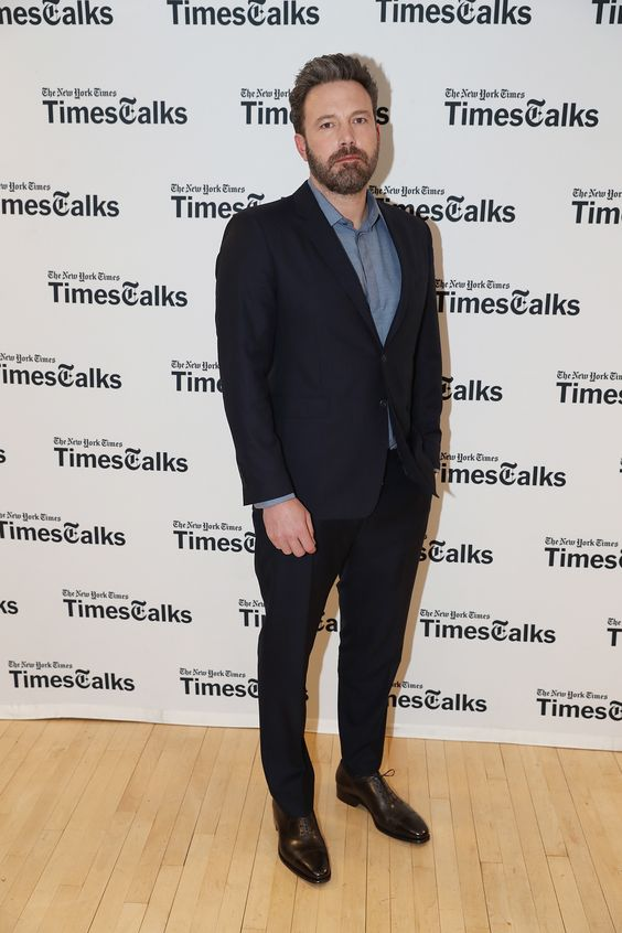 Actor Ben Affleck wearing Burberry tailoring to Times Talks at the NYU Skirball Center in New York last night