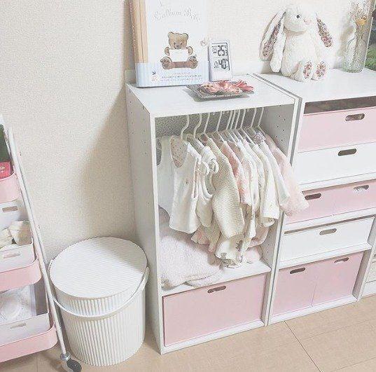 インスタママはこうしてる ニトリ 100均のベビーグッズ収納術 たまひよ リビング 赤ちゃんスペース 赤ちゃん用家具 インテリア 収納