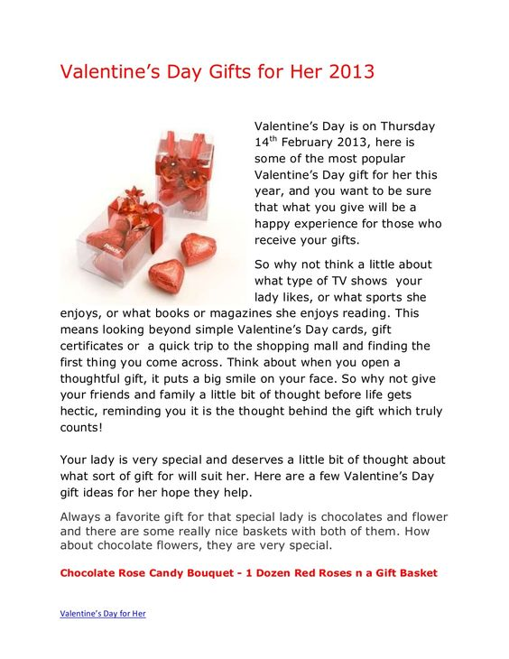 Valentine's Day is on Thursday 14th February 2013, here is some of ...