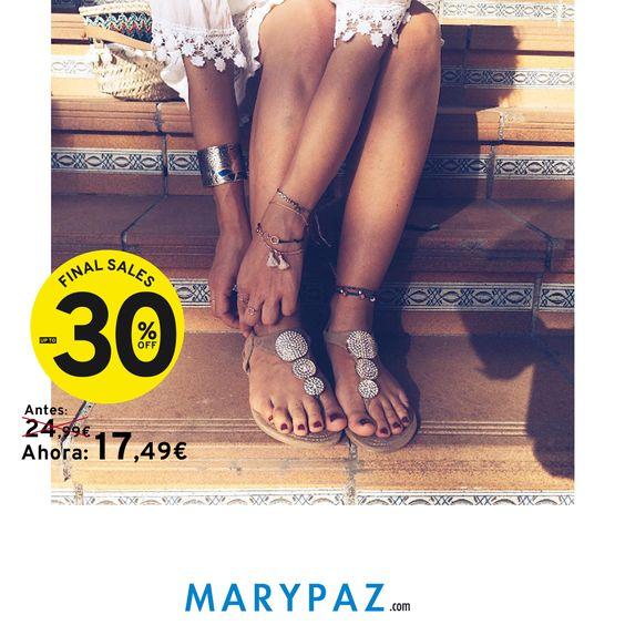 Buenos días lunes!!!! Empezamos la semana con buen pie! con este #Shoelfie by @mivestidodelentejuelas al 30% DTO  ¡¡¡ SEGUNDAS REBAJAS HASTA EL 60% DTO DE MARYPAZ !!!  #finalsales #segundasrebajas #shoelfiebyMARYPAZ #verano #summer #viajes #playa #beach #SS16   Compra ya estas SANDALIAS PLANAS REBAJADAS AQUÍ >> http://www.marypaz.com/sandalia-plana-en-t-con-medallones-0424216v5048-73491.html