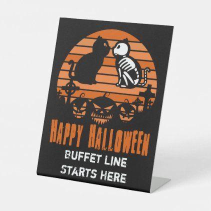 Barrys Halloween Party 2020 Kids Happy Halloween Skeleton Cat Retro Sunset Pedestal Sign
