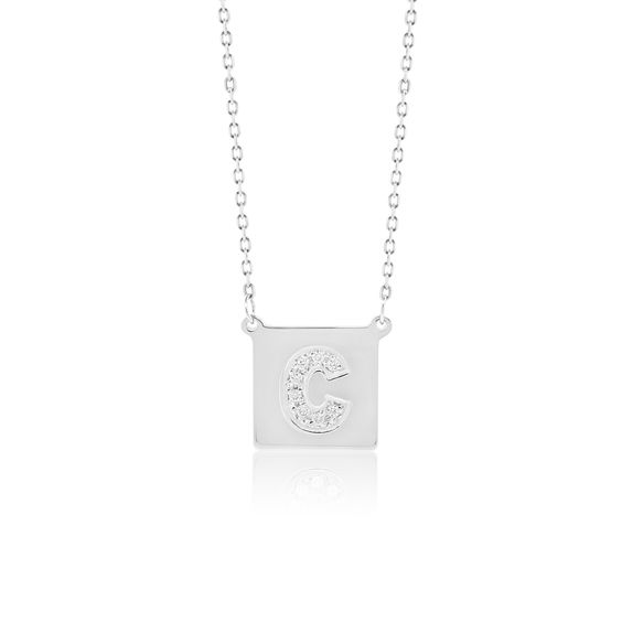 Made Simply Boutique's Square Necklace in White Gold, Letter C