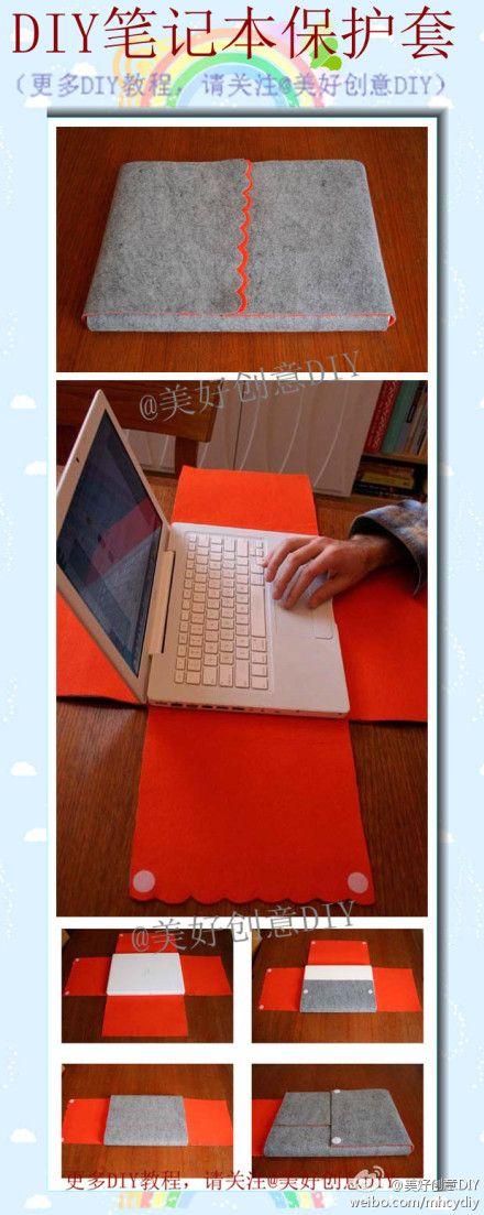 Funda para el portátil o el netbook hecha con fieltro y... ¡¡desplegable!!