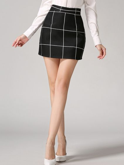 Plaid Bodycon Black Skirt