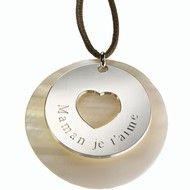 Pendentif Message du coeur (argent massif & nacre) - Petits Trésors