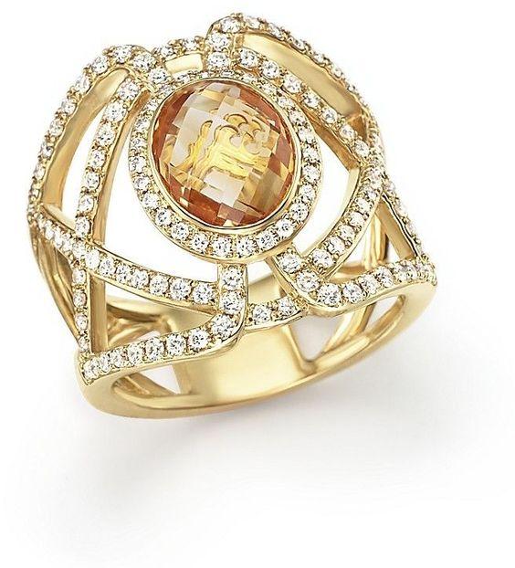 Citrine and Diamond Geometric Ring in 14K Yellow Gold