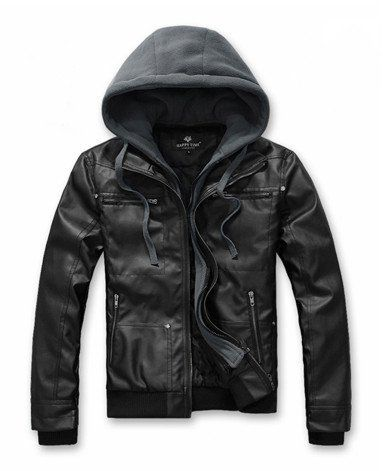 Men's PU Leather Jacket with Removable Hood