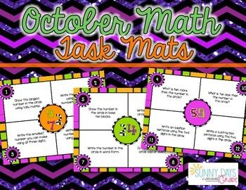 October Math Mats. Instant math centers! Also great for small group, write the room, scoot, remediation, assessment... Seasonal but without graphics that might make them unacceptable for use in your classroom (no ghosts, witches, etc) Skills: place value, number sense, basic operations.