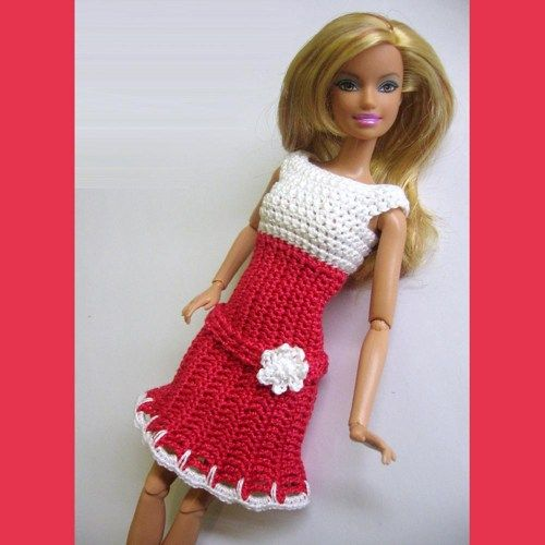 Handmade red white dress for Barbie doll with belt made to order | loststitch - Dolls & Miniatures on ArtFire