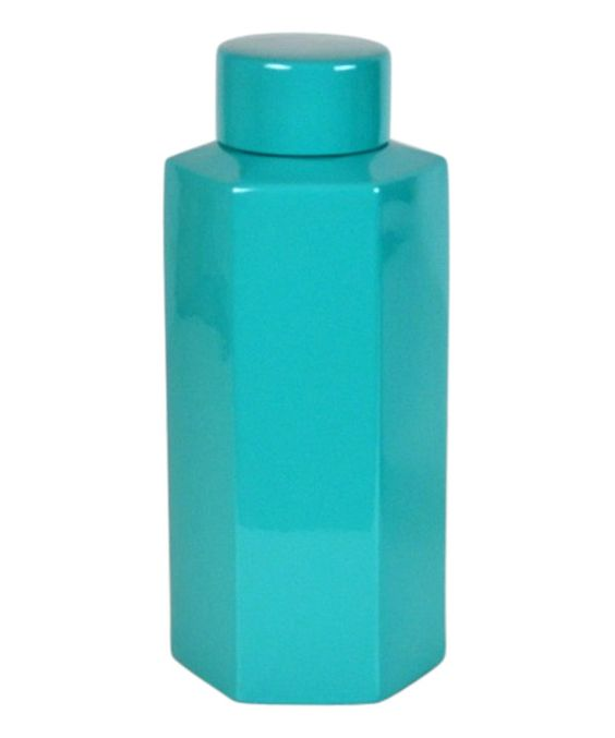 Turquoise Porcelain Geometric Jar on #zulily today!
