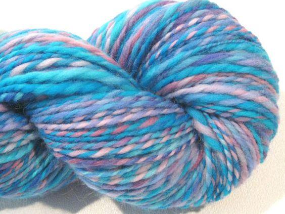 2 ply handspun yarn Painted Sky  226 yards by SpinningWheelStudio, $32.00
