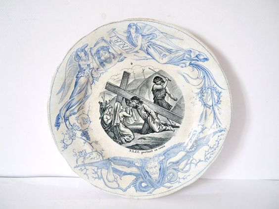 French Vintage blue and white ironstone Creil Montreal with the passion of Christ