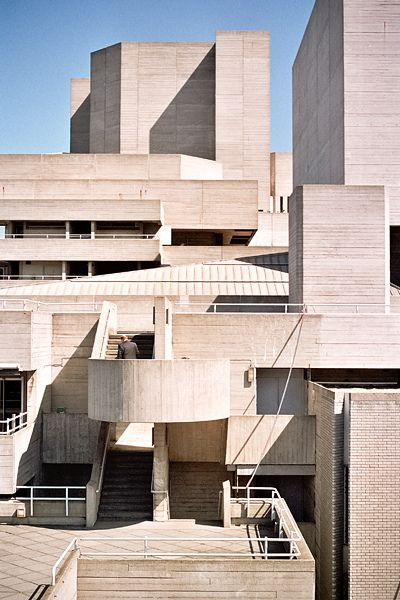 """Denys Lasdun, Brutalist architecture - Béton brut - Royal National Theatre, South Bank Lambeth, London. Prince Charles described the building in 1988 as """"a clever way of building a nuclear power station in the middle of London without anyone objecting"""" What does he know."""