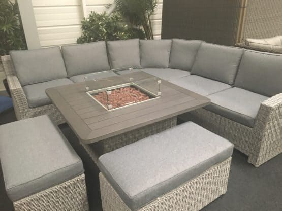Rattan Garden Furniture Set With Fire Pit Table