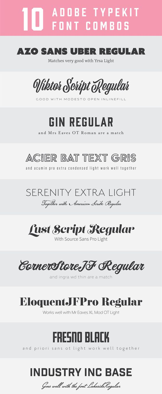 10 Adobe Typekit Font Combos Font Combos Graphic Design Fonts Magazine Fonts