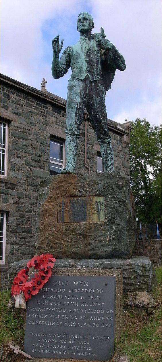 Statue of Hedd Wyn in Trawsfynydd.