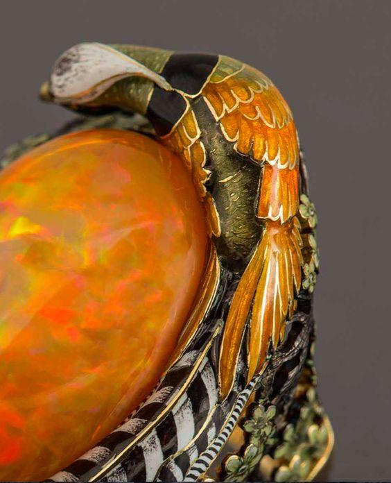 Pheasant by Ilgiz F. gold, enamel, opal #ilgizkremlin: