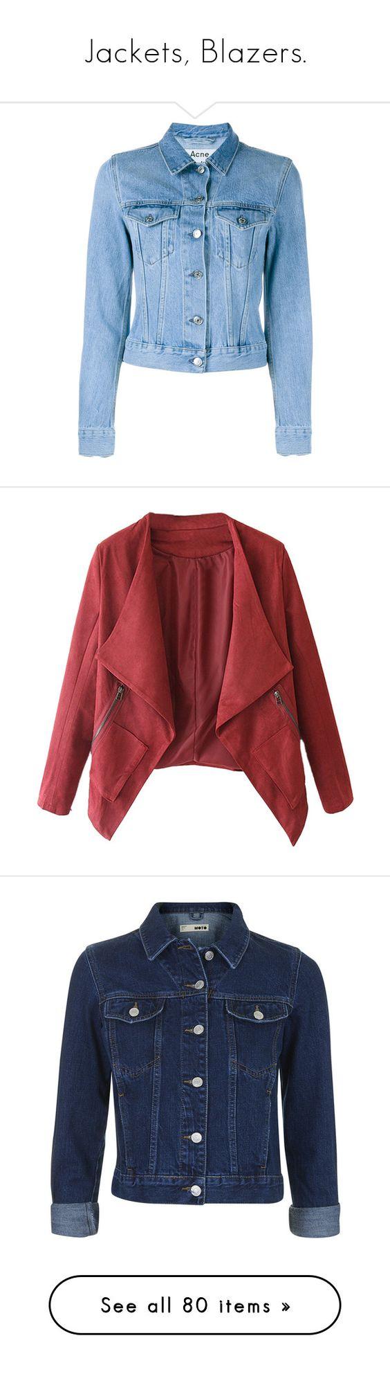 """Jackets, Blazers."" by aylin-schroeder on Polyvore featuring outerwear, jackets, tops, denim jacket, coats, long sleeve jean jacket, jean jacket, long sleeve denim jacket, acne studios und blazers"
