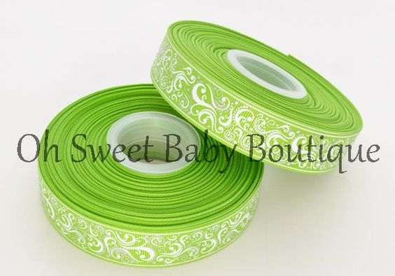 Fancy Swirl Ribbon With Foil Accents Apple-