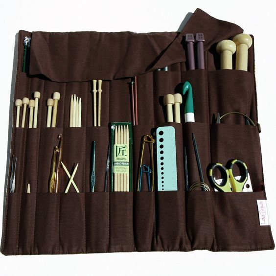 Large Knitting Needle Case Organizer pockets for circular, straight, dpn, or paint brushes