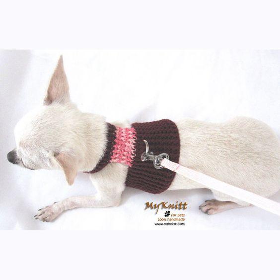 Dog Harness Pet Clothing Unique Handmade by myknitt #dog #cute #handmade #crochet #myknitt