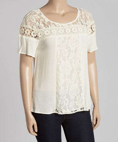 Look what I found on #zulily! Cream Sheer Lace Top - Plus #zulilyfinds