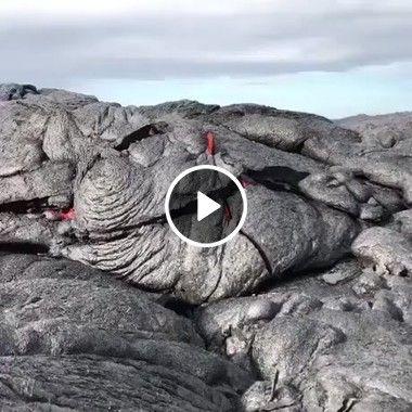 Lava de vulcão saindo da crosta