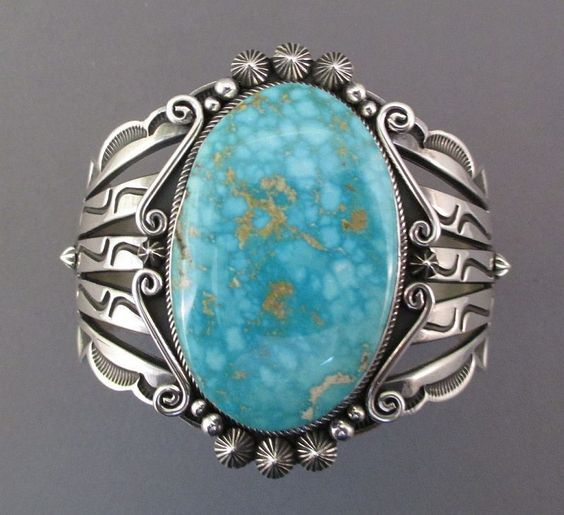 Navajo Sterling Silver Gem Qual Blue ROYSTON TURQUOISE Cuff Bracelet s6.75