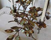 Farmhouse rusty metal rose bush candle holder with embellishment charms rustic floral wire industrial home decor anita spero