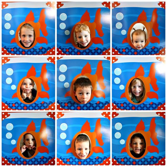 """DIY Fish Photo Booth  """"I printed a 20 x 30 enlargement of our printable file at Sams Club. It was ready in an hour and cost less than $10! I used spray adhesive to mount the photo on to a piece of cardboard. I then cut out the hole for the face using an Exacto knife."""""""