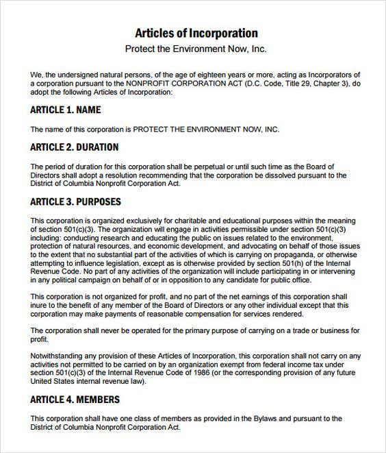 Articles Of Incorporation Example Nonprofit Articles Of Incorporation Harbor Compliance By Www Harborcomp Business Template Business Mentor Incorporate