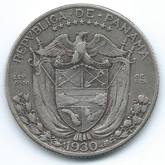 COIN MONEY Panama 1930 1/4 Balboa Silver   https://ajunkeeshoppe.blogspot.com/