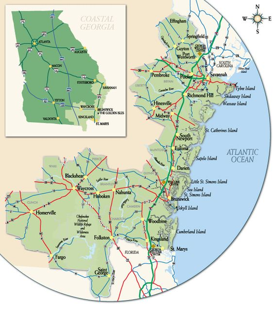 Visit Coastal Georgia Region great info site of all the coastal – Georgia Tourist Map