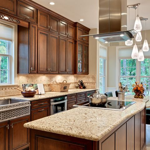 Wood can highlight the dark brown elements in your granite