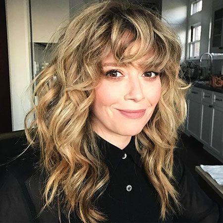 Wavy Curly Hair Bangs Wavy Bangs Hair Curly Curly Hair Fringe Long Curly Hair Curly Hair Styles Naturally