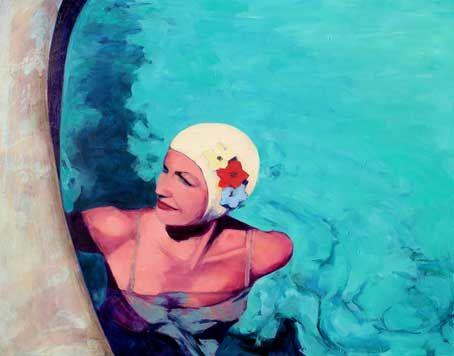 PrettySwimmerJolie nageur 48 × 60 cm, huile sur toile