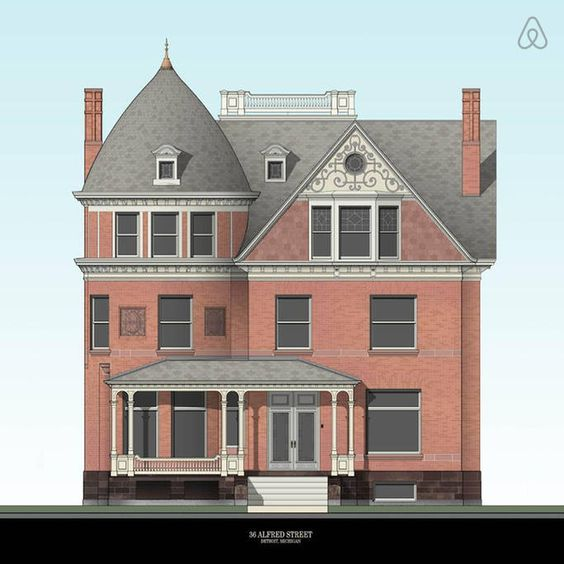 An architectural rendering of 82 Alfred Street (formerly 36 Alfred Street) by artist Eric Becker. The artist is a friend of Jeff Cowin, the current owner of the Queen Anne mansion. Image via Airbnb.com.