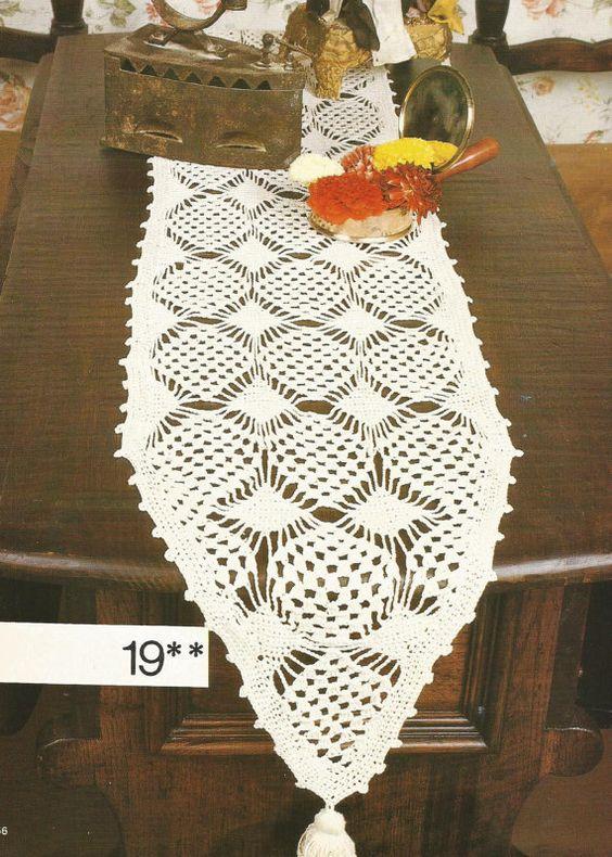 Crochet pattern for a tasseled table runner crochet for Table knitting