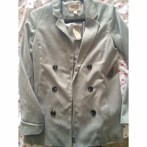 Grey blazer Long grey blazer/jacket with buttons down both sides, never worn Jackets & Coats Blazers