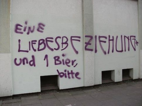A love affair and one beer, please. Liebesbeziehung+Bier