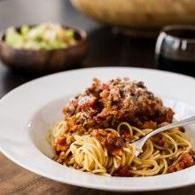 Spaghetti with Chicken Sausage and Lentil Bolognese | www.kitchenconfidante.com